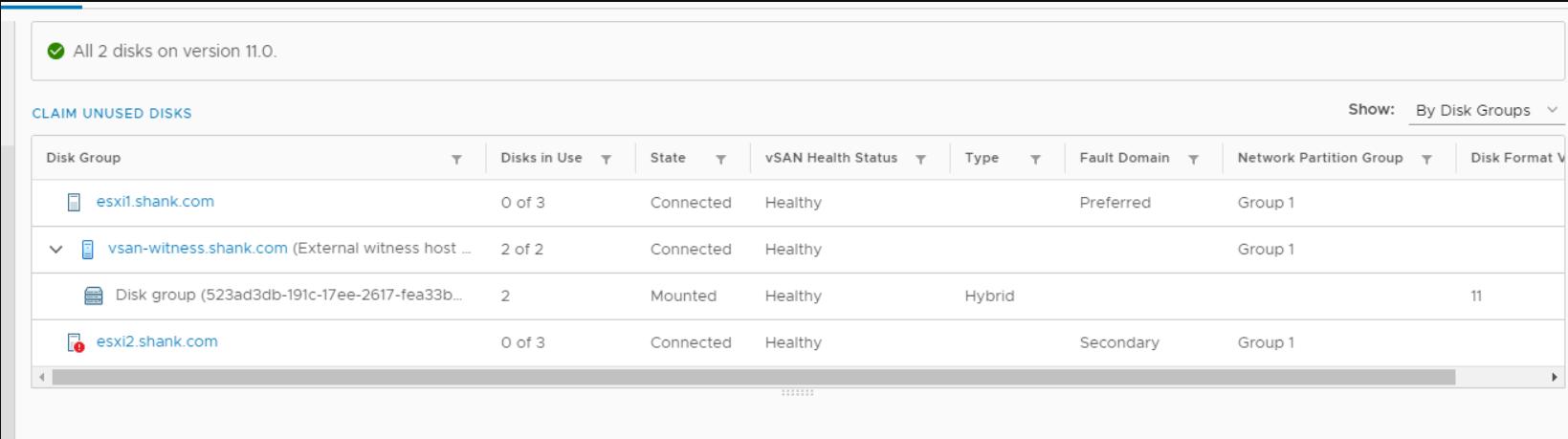 vcenter vsan datastore showing no disks claimed for hosts
