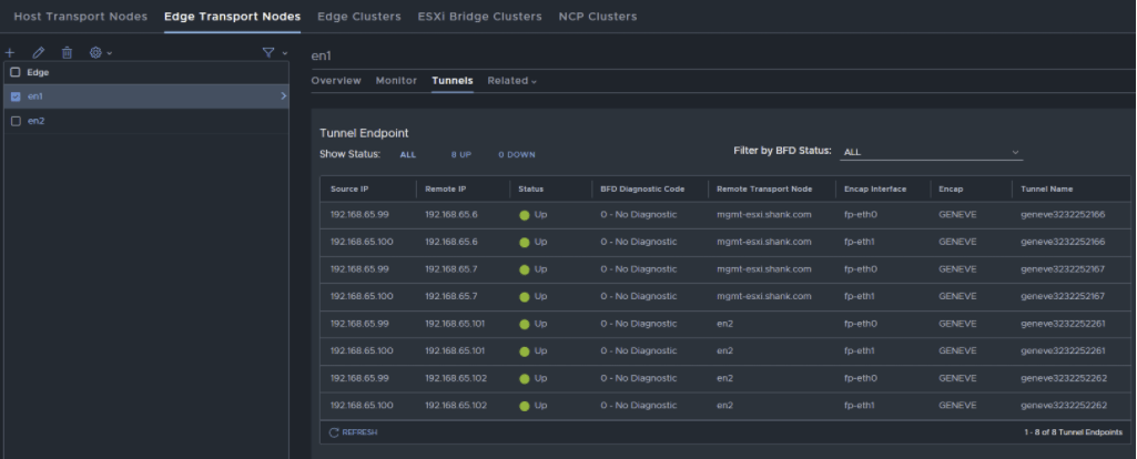 nsx-t manager ui showing inter tep communication working tunnels up same transport vlan using vlan-backed segments