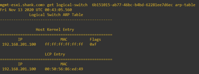 nsx management host get logical-switch arp-table with entries