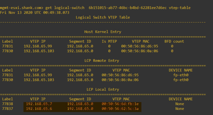 nsxcli management host get logical-switch vtep-table showing vtep ip and vtep mac mapping