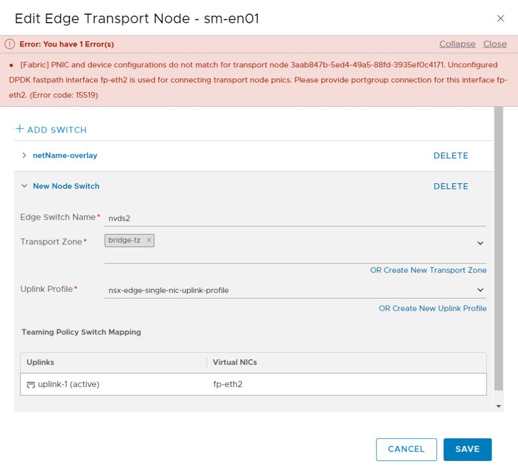 nsx-t edge bridge config fail