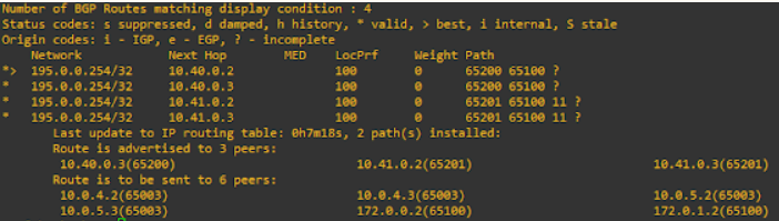 nsx-t ToR show ip route 195.0.0.254 to show where it has been learnt from