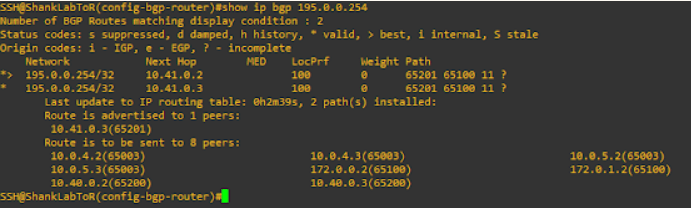nsx-t active-active ToR bgp route table after shutting down ToRs in SiteA