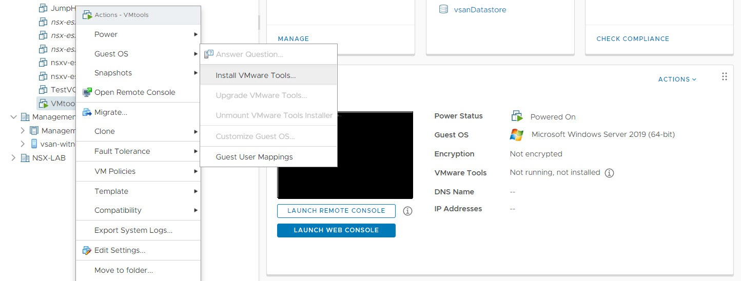 initial vmware tools install on esxi 7 update 1c